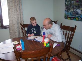 Enjoying Dad's Math class.