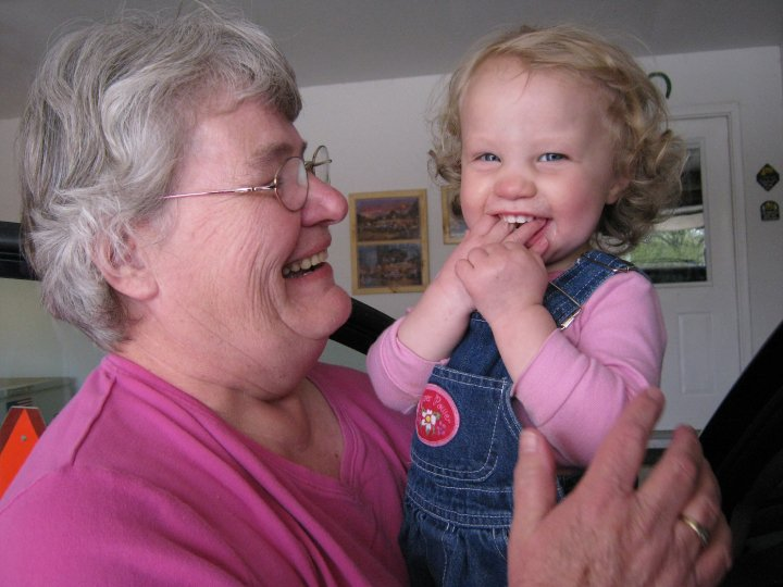 Always happy to be with her grandbabies!