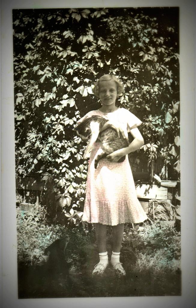 Josephine with her favorite cat, Weenie