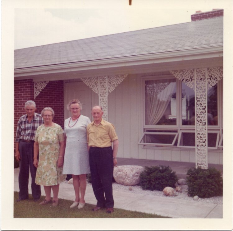 L to R:  Uncle Tunis Runia, his wife Nellie, Aunt Dirke & Uncle Sebring.   Tunis and Dirke were brother and sister to Anna Runia.