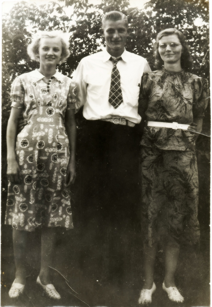 (R to L) Josephine, John and Anna VanDyk. We believe that this photo was taken perhaps years later, when Josephine went to visit her dad and siblings in Kalamazoo.