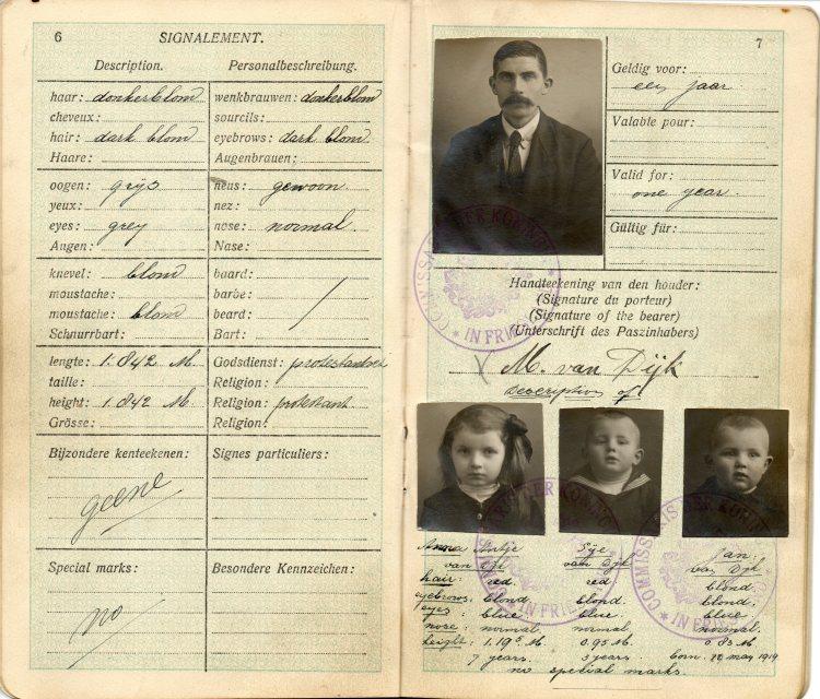 Meindert Van Dyk passport  issued in February, 1921