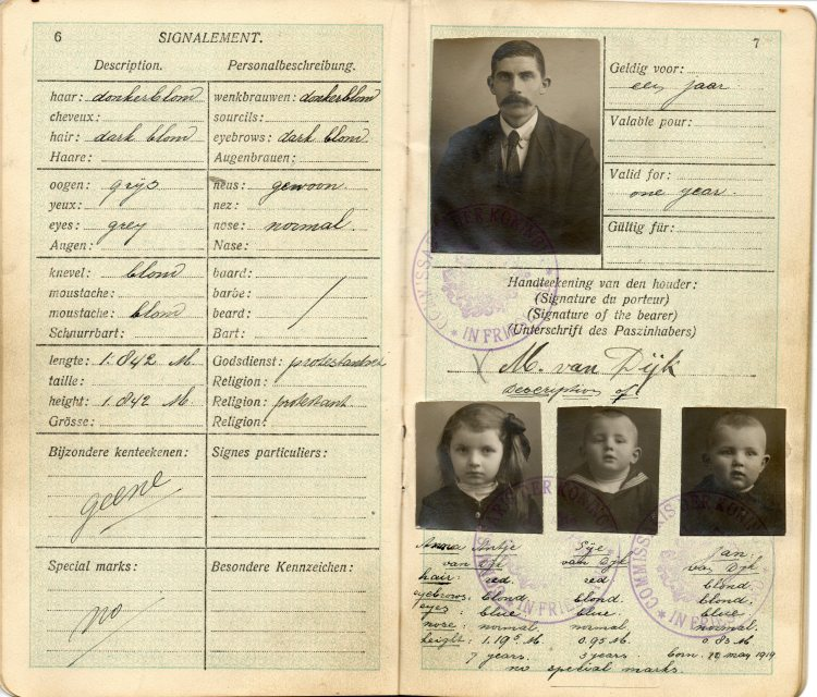 Meindert Van Dyk passport  issued in February, 1921